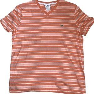 Lacoste orange and white stripe shirt size 6